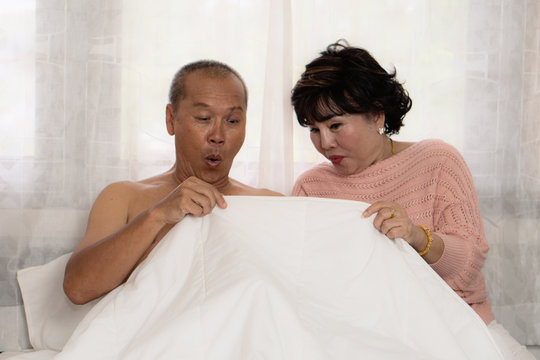 senior asian couple exiting with husband morning penis erection and both are very happy
