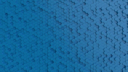 Fotobehang - Hexagonal light blue background texture. 3d illustration, 3d rendering