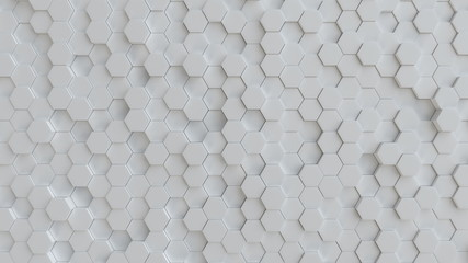 Hexagonal white background texture. 3d illustration, 3d rendering Wall mural