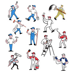 Set or collection of cartoon character mascot style illustration of house or domestic painter, builder, handyman, decorator, contractor or renovator on isolated white background.