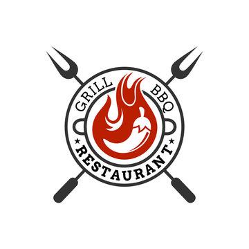 vintage retro BBQ logo, barbecue food vector, spicy chili icon, emblem design
