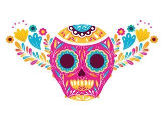 mexican skull isolated icon