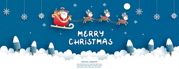 Christmas card in paper cut style. Vector illustration Wall mural