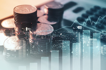 Double exposure of graph , stationary  and rows of coins for goal office ,  finance and business concept background Fototapete