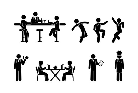 Icons of people in the restaurant, workers and customers illustration. People drink at the bar, visit a cafe, dance in a nightclub. Stick figure pictogram cook, bartender and client. The waiter serves