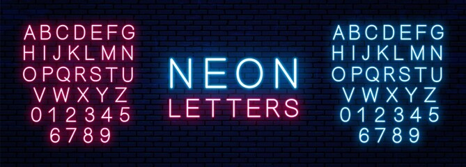 Bright neon letters of red and blue color isolated on brick wall background. Vector neon font.