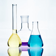 The glass bulb. Chemical flask. Chemical vessels. Glassware.