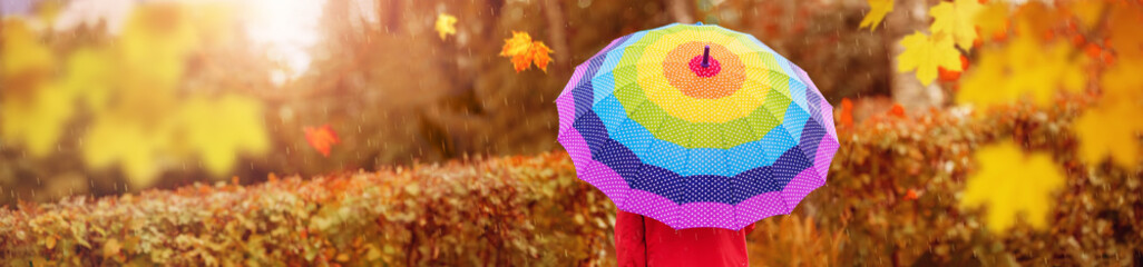 Boy holding colourful umbrella under rain in autumn
