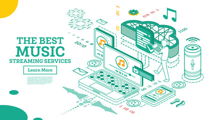 Streaming Music Services. Isometric Concept.