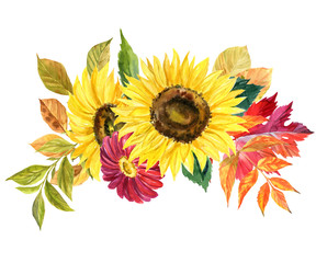 Watercolor hand drawn bouquet of decorative watercolor autumn flowers and fallen leaves isolated on white background