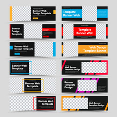 Set of horizontal black vector web banners with place for photo and text and colored rectangles, frames and diagonals.