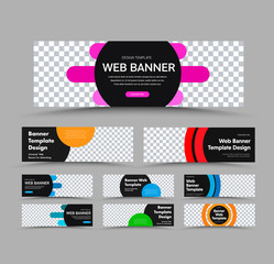 Wall Mural - Horizontal black vector web banner templates with place for photo and text and colored round and rounded design elements.