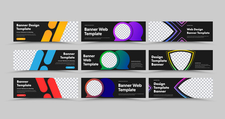 Wall Mural - Design of horizontal black vector web banners with colored bubbles, strokes and lines.