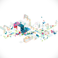 Fototapeta Abstract creative geometrical architect and city concept with colorful graphic and triangle, line, color decoration, vector illustration obraz