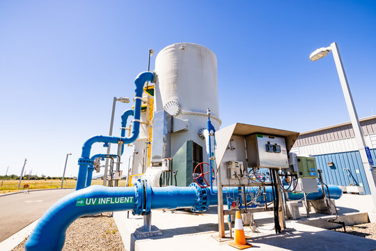 June 20, 2019 San Jose / CA / USA - Silicon Valley Advanced Water Purification Center located in South San Francisco bay area; part of the Santa Clara Valley Water District's recycled