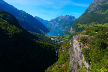 View of Geiranger fjord and cruise ship