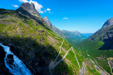 Trollstigen or Trolls Path is a serpentine mountain road