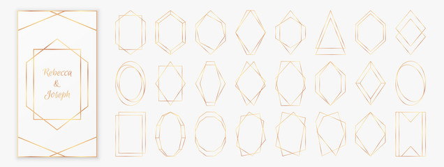 Gold polygonal frames collection isolated on light grey background.