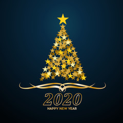 Vector Abstract cover Golden Christmas Tree, with text 2020 Happy New Year