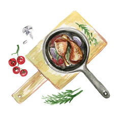 Breakfast Watercolor Top View Illustration. Meat Chicken Grill Food Isolated Clipart on White Background