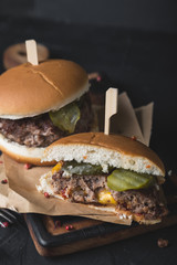 Burger stuffed with cheddar cheese. Juicy Lucy