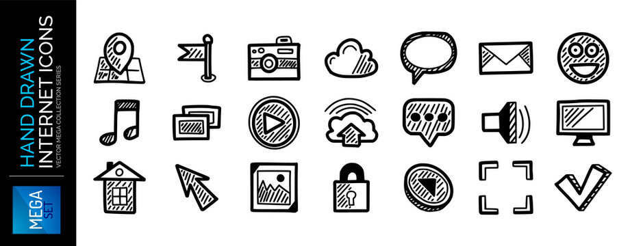 Set of hand drawn internet icons, web concepts isolated on white