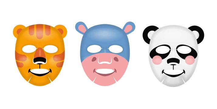 Vector facial mask, skin care concept, mask with a tiger, hippo, panda face, skin treatment