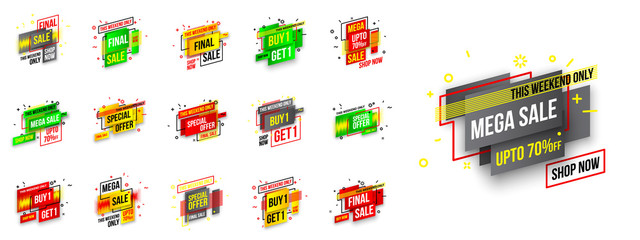 Abstract mega sale flat badges geometric shapes set. Final sale banner isolated on white background. Yellow, red, green and black colors special offer banner set. Shop now web app, poster illustration