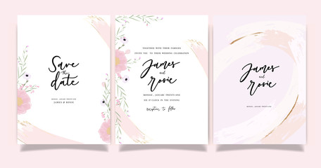 Summer Flower Wedding Invitation set, floral invite thank you, rsvp modern card Design in Pink peony and white  floral with leaf greenery  branches decorative Vector elegant rustic template Fototapete