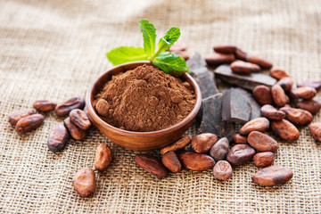 Cocoa powder, chocolate and beans