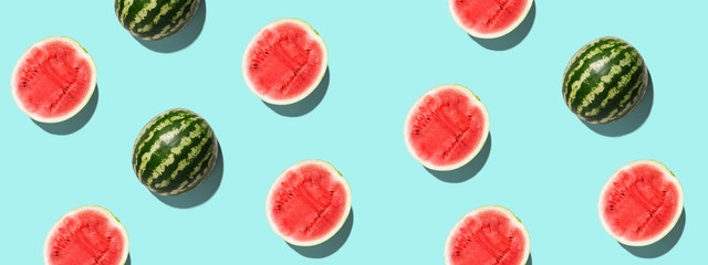 Pattern with ripe watermelon on blue background. Pop art design, creative summer concept