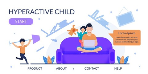 Flat Landing Page for Help with Hyperactive Child
