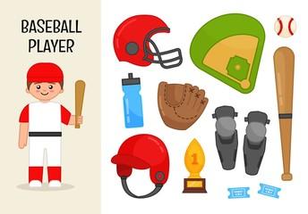 Vector character baseball player. Illustrations of baseball equipment. Set of cartoon professions.