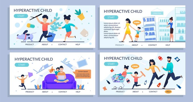 Hyperactive Children Flat Design Landing Page Set