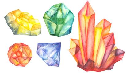 colorful watercolor gem stones