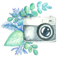 watercolor retro camera decorated with variety of plants