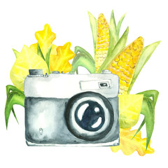 watercolor retro camera decorated with autumn leaves and fresh corn