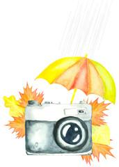 watercolor retro camera decorated with umbrella and autumn leaves