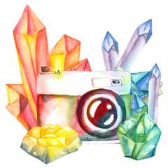 watercolor retro camera decorated with gemstones