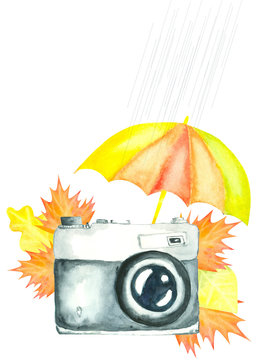 watercolor retro camera decorated with umbrella and autumn leaves
