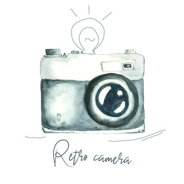 watercolor image of retro camera isolated on white