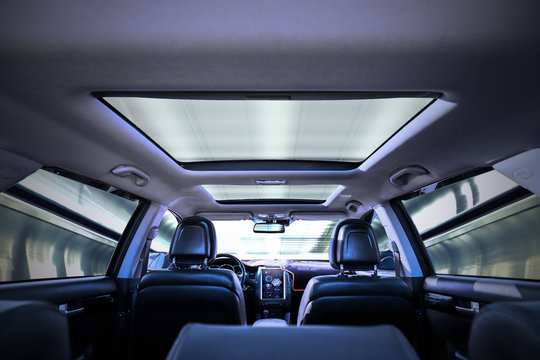 Sunroof view inside of car
