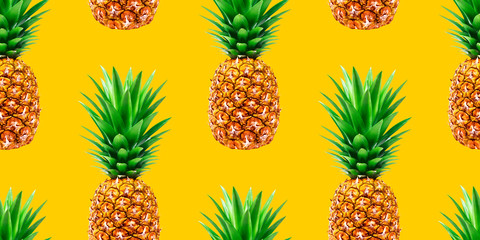 Pineapple, summer ananas seamless pattern on yellow background