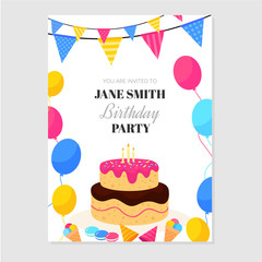 Happy birthday invitation card with cake, balloons and flags
