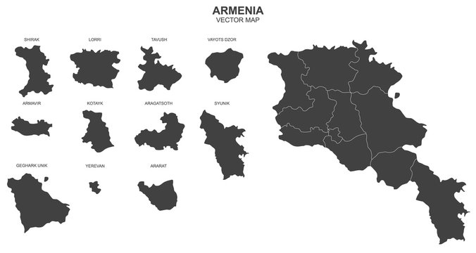 vector map of Armenia on whitebackground