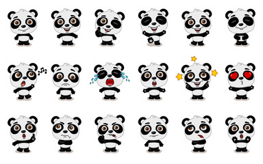 Big set of funny panda bear in cartoon style in different standing poses and emotions isolated on white background