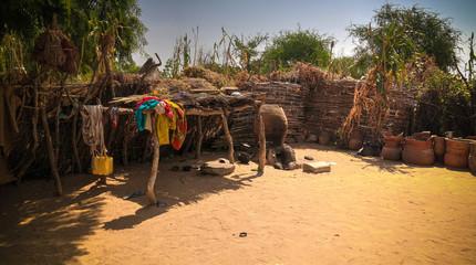 Fototapeta Lanscape with Mataya village of sara tribe people, Guera, Chad obraz