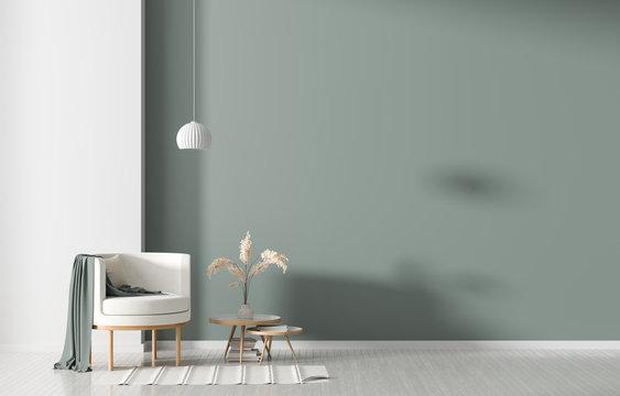 Empty wall in Scandinavian style interior with armchair. Minimalist interior design. 3D illustration.