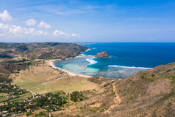 Are Guling beach in the Kuta area in South Lombok in Indonesia.