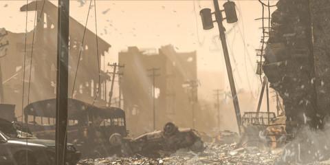 Apocalypse survivor concept, Ruins of a city. Apocalyptic landscape 3d render , 3d illustration concept Wall mural